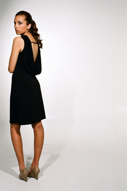 Ingrid Hayes Cowl Back Black Dress