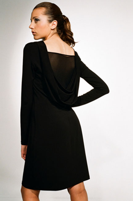 Ingrid Hayes Cowl Back Black Dress Mesh Inset