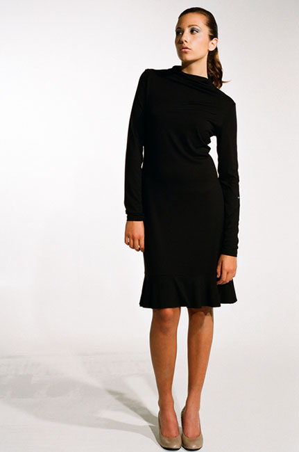 Ingrid Hayes Stovepipe Neck Black Dress
