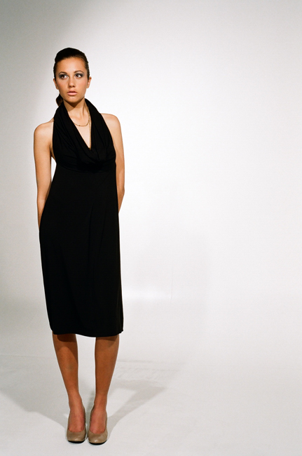 Ingrid Hayes Halter Cowl Black Dress