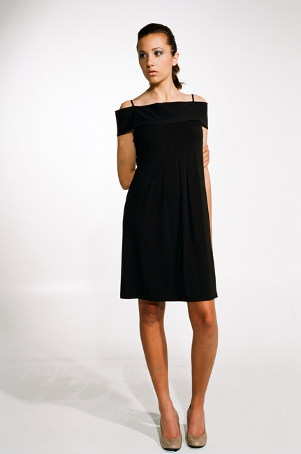 Ingrid Hayes Off the Shoulder Black Dress