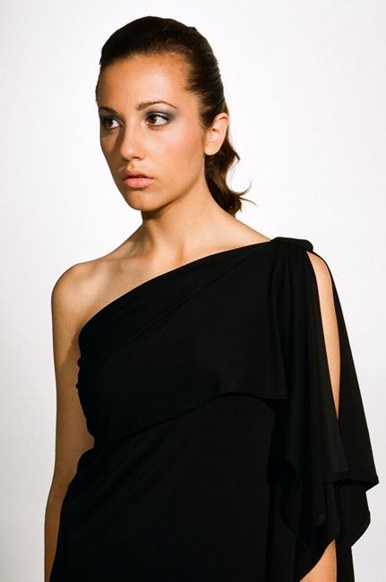 Ingrid Hayes One Shoulder Draped Black Dress