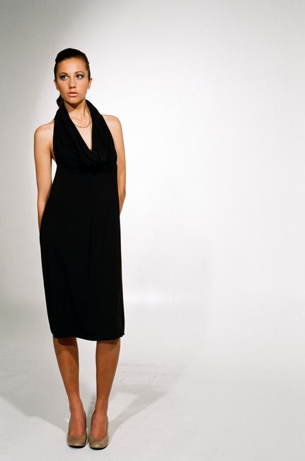 Ingrid Hayes Halter Cowl Black Dress