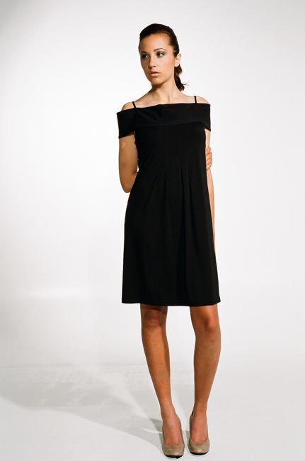 Ingrid Hayes Off the Shoulder Black Dress