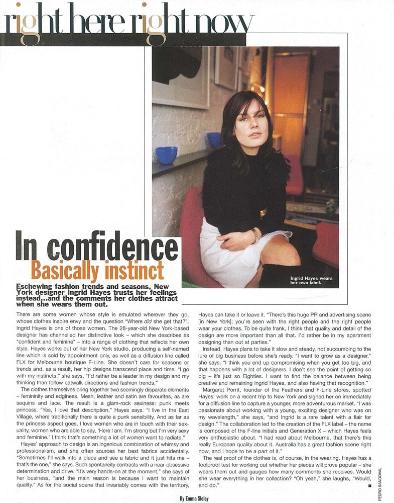 Ingrid Hayes feature article Harpers Bazaar Australia