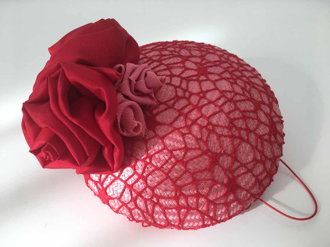 red rose button hat